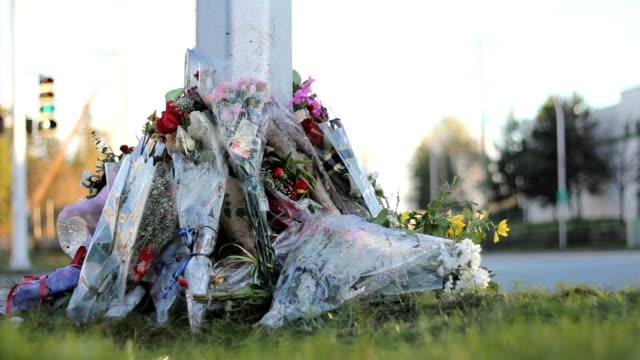 police officer roadside memorial - minnesmärke bildbanksvideor och videomaterial från bakom kulisserna