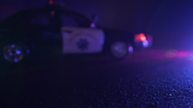 Police Patrol Car at Scene of Emergency (Optical Lens Defocus) video