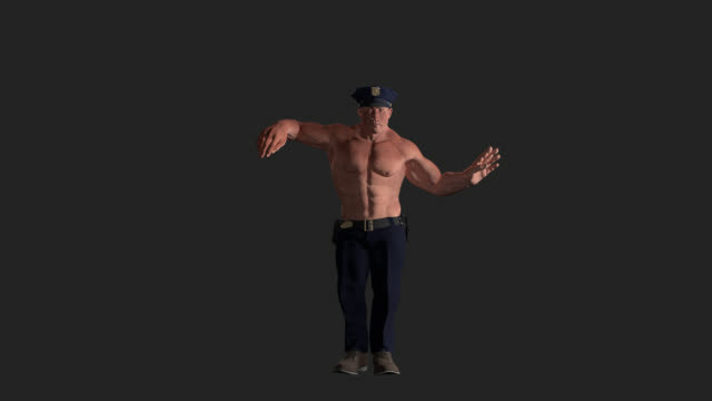Policeman Chippendale Dance 3D with Alpha Channel Shirtless sexy muscular Chippendale policeman dancing. Alpha included macho stock videos & royalty-free footage
