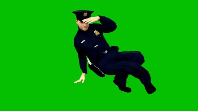vídeos de stock e filmes b-roll de policeman dancing rhythmic modern dance on a green screen. looped animation. - badge