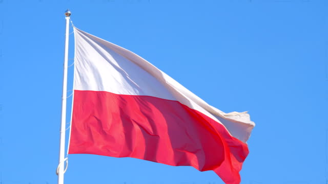 Polish flag in 4K slow motion 60fps video