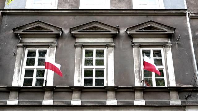 polnische flagge, nationalfeiertag - polnische kultur stock-videos und b-roll-filmmaterial