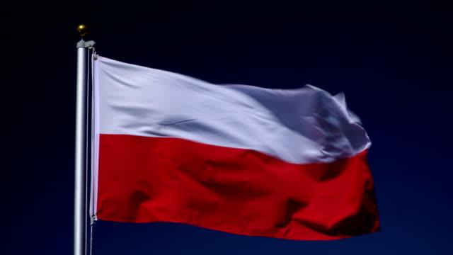 4k: polnische flagge am fahnenmast vor blauem himmel im freien (polen) - polnische kultur stock-videos und b-roll-filmmaterial
