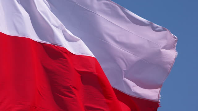 polish flag waving in the wind, slow motion 4k - getty filmów i materiałów b-roll