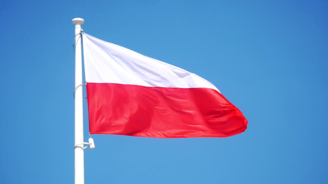 polish flag waving on mast in slow motion 180fps - polonia video stock e b–roll