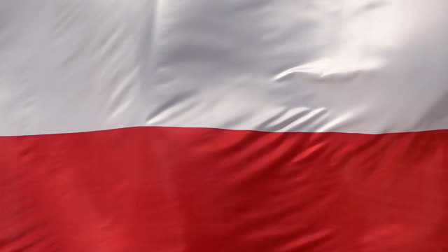 Polish National Flag Waves In Slow Motion video