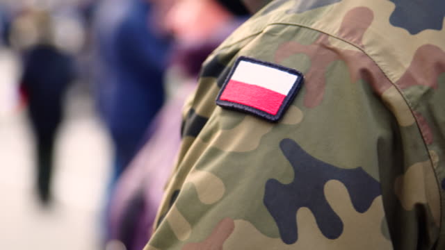 Polish solider and flag stripe Polish solider and flag stripe military uniform stock videos & royalty-free footage