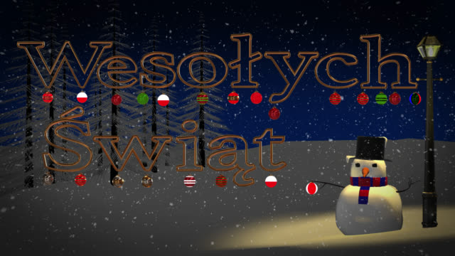 Polish Wesołych Świąt greeting with snowman and old gas lamp video