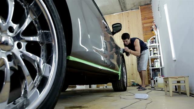 Polishing gray car. Car detailing series. video