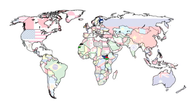 political map of world with national flags - politica e governo video stock e b–roll