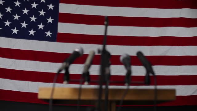 Political podium, rack focus video