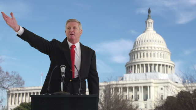 Politician speaking in front of US Capitol building video