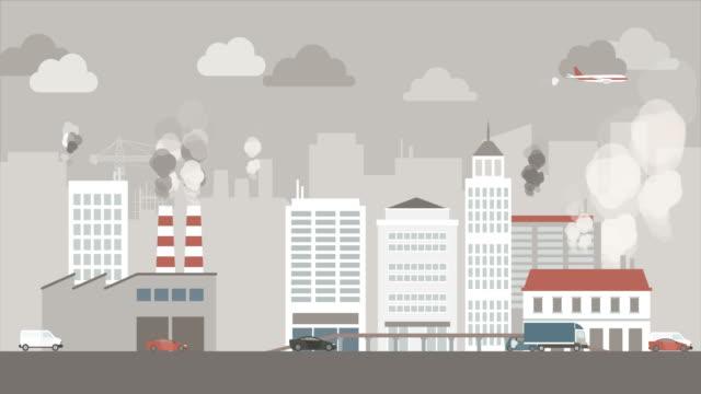 stockvideo's en b-roll-footage met vervuilde stad met autoverkeer - luchtvervuiling