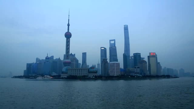 Polluted Shanghai skyline, China video