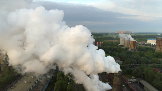 Polluting factory aerial view video