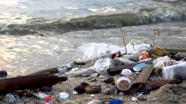 Pollution on the beach of tropical sea