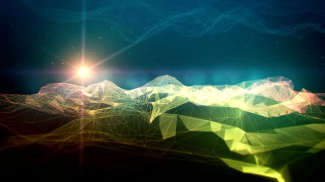 stockvideo's en b-roll-footage met polygon mountain 3d space landscape - low poly modelleren