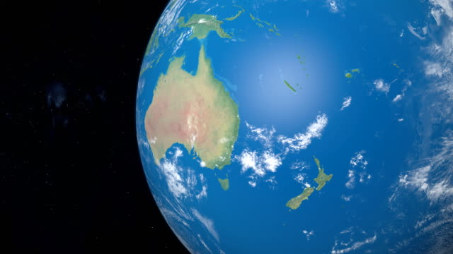 Polynesia, Micronesia and Melanesia in planet earth, view from outer space Polynesia, Micronesia and Melanesia in planet earth, aerial view from outer space oceania stock videos & royalty-free footage
