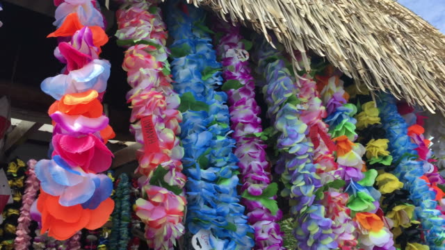 Polynesian Lei garland of flowers Polynesian Lei garland of flowers in Rarotonga Cook Islands. A lei can be given to someone for: love, honor, or friendship for another person. hawaii islands stock videos & royalty-free footage