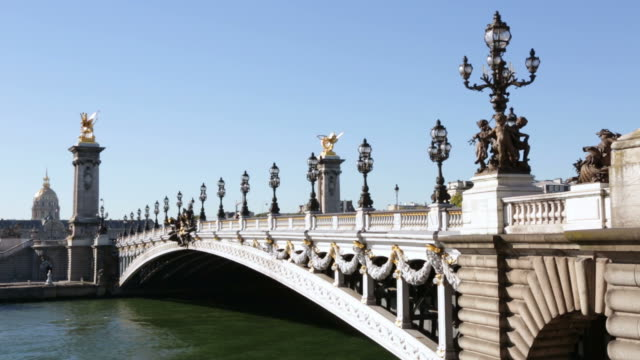 Pont Alexandre III bridge in Paris in the morning, France video