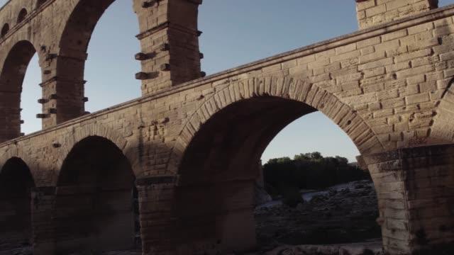 Pont Du Gard in golden sunrise video