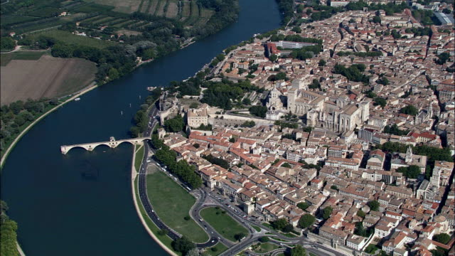 Pont Saint-Benezet  - Aerial View - Provence-Alpes-Côte d'Azur, Vaucluse, Arrondissement d'Avignon, France video