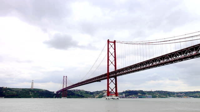 Ponte 25 de Abril: Suspension Bridge in Lisbon Ponte 25 de Abril: Suspension Bridge in Lisbon, Portugal. suspension bridge stock videos & royalty-free footage