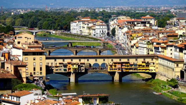 Ponte Vecchio Bridge and Arno River in Florence, Italy