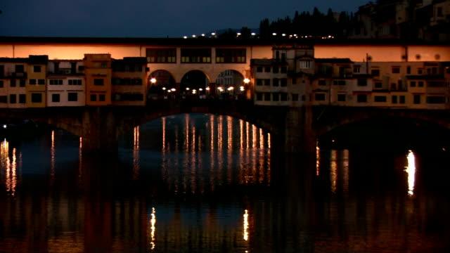 Ponte Vecchio bridge at night video