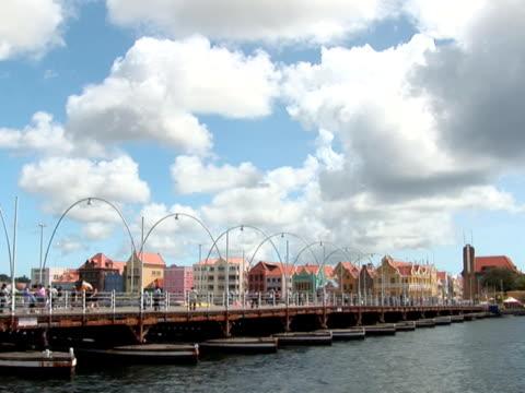 PAL: Pontoon bridge in Willemstad, Curacao, Netherlands Antilles curaçao stock videos & royalty-free footage