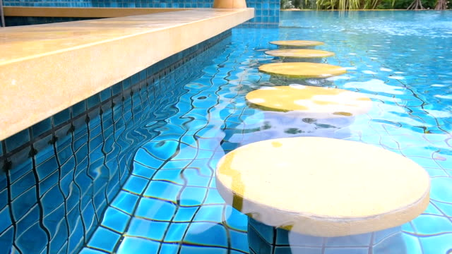 pool bar seat at swimming pool with ripple water video