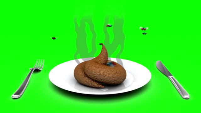 vídeos de stock e filmes b-roll de poop on a plate. 3d animation in cartoon style. green screen, loopable. - cheiro desagradável