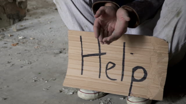 poor homeless ask money and need help - unemployment stock videos & royalty-free footage