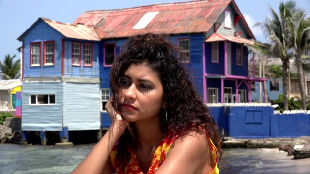 Poor Unhappy Woman Near Dilapidated House video
