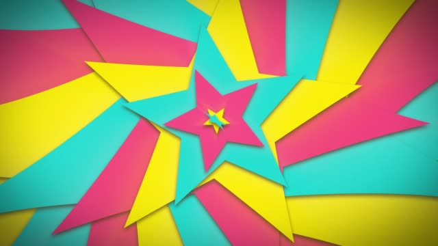 pop and cute, lovely pink and yellow and green star open round [7sec loop] - kawaii video stock e b–roll