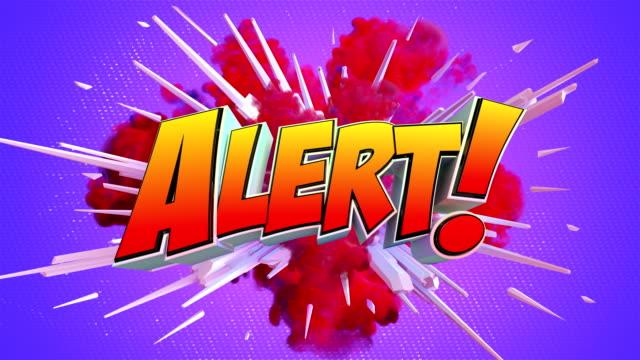 pop art alert text in amazing explosion - pop art video stock e b–roll