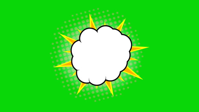 stockvideo's en b-roll-footage met popart achtergrondanimatie, hd. comic stijl wolk op groene achtergrond. - halftint