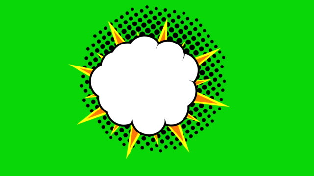Pop art background animation, HD. Comic style cloud on green background. video