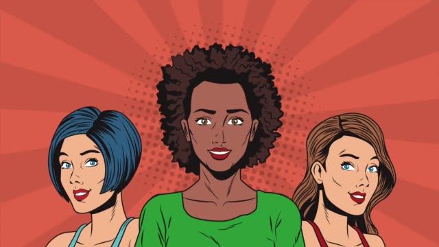 Bидео Pop art beautiful womens HD animation