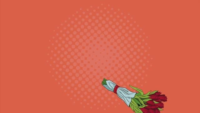 Pop art bouquet of flowers HD animation