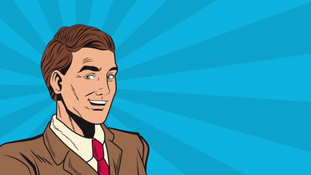 Bидео Pop art businessman cartoon HD animation