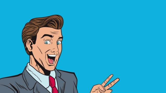 Pop art businessman with hand peace symbol HD animation