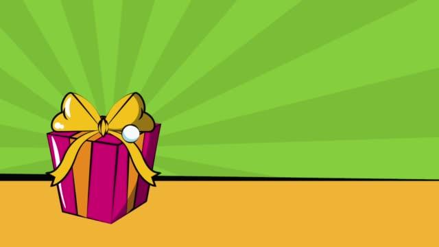 Pop art fashion bag in giftbox HD animation