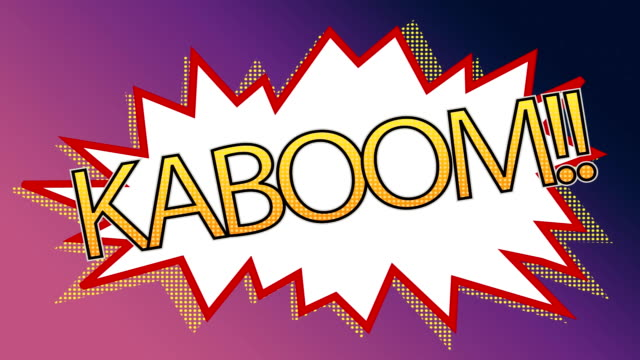 Pop art kaboom animation of a comic stripes against shade purple background