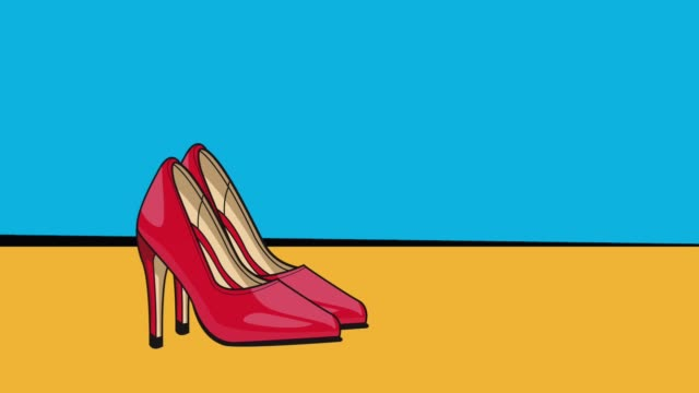 Pop art womens high heels HD animation