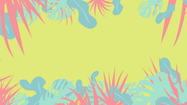 grafica botanica pop[loop] - albero tropicale video stock e b–roll