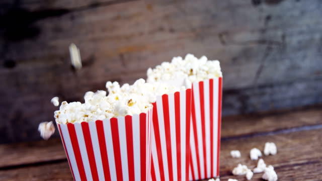 Popcorn arranged in a row with 4th july theme video