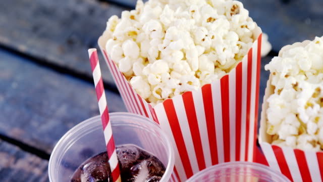 Popcorn, confectionery and drink with 4th july theme video