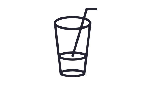 popular bar drinks line icon animation with alpha - adulazione video stock e b–roll