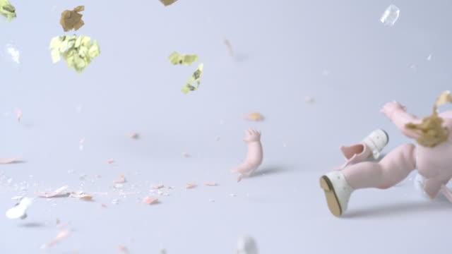 Porcelain doll being smashed, Slow Motion